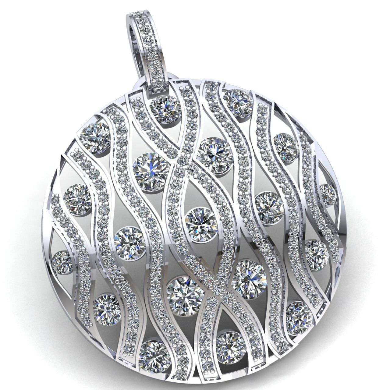 Natural 7carat Round Cut Diamond Ladies Wavy Bar Trellis Circle Pendant 14K gold