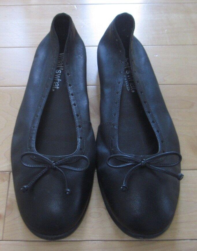 What's What Aerosoles Womens Black Leather Ballet Flats Morgan 9.5 W