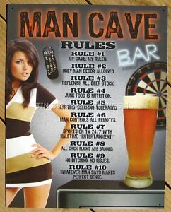 Man Cave Rules Tin Sign Metal Poster Funny Sports Bar Game