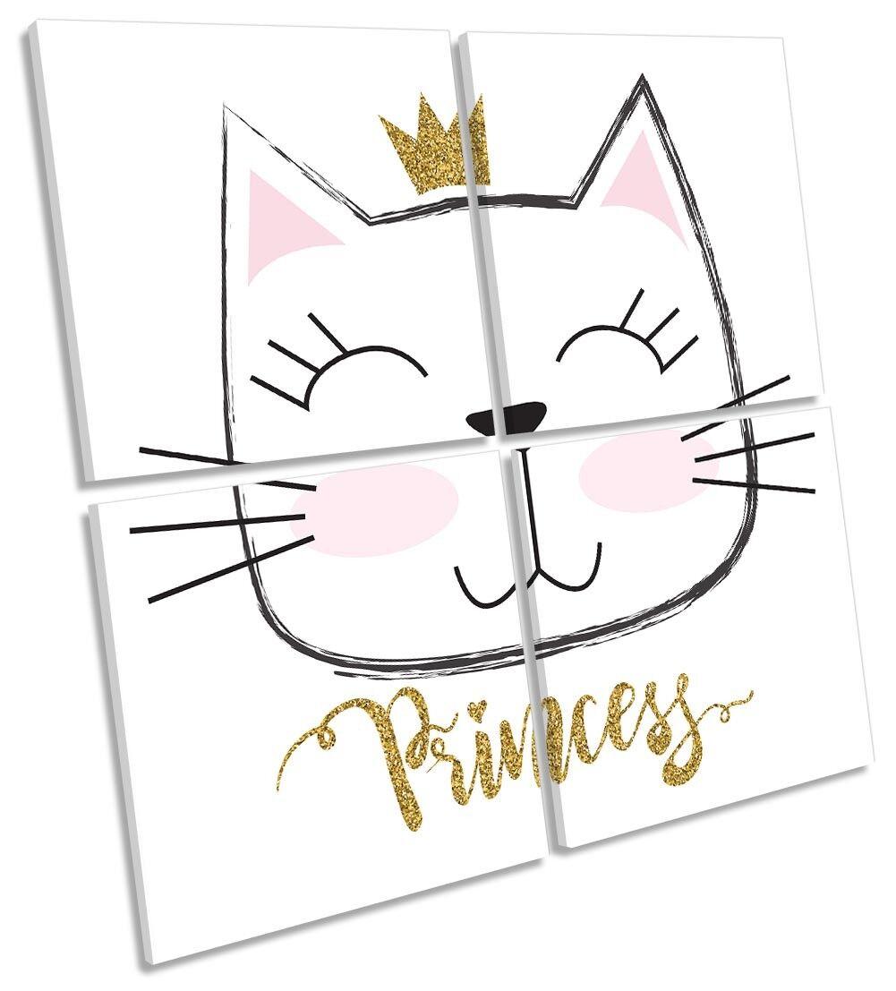 Gato Princesa Niños Habitación Guardería Arte Enmarcado Impresión Impresión Enmarcado de lona Multi Cuadrado 457ec7