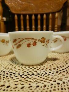 Set of 4 Vintage Pyrex Milk Glass Coffee Cups Mugs * Harvest Home * Corning USA
