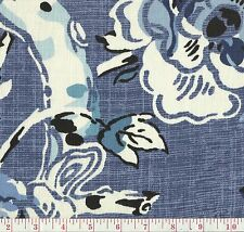 100% Linen Braemore Allora Denim Blue Floral Print Drapery Fabric BTY