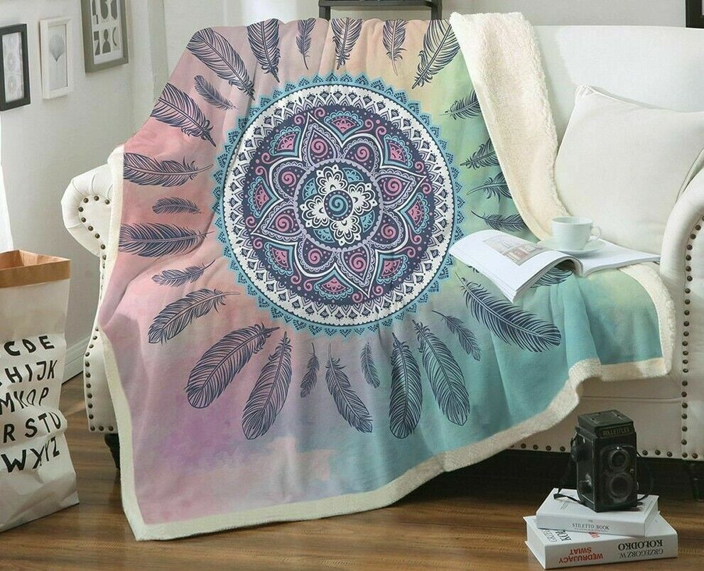 Mandala Boho Throw Blanket Dreamcatcher Bohemian Sherpa Fleece Plush Bedding