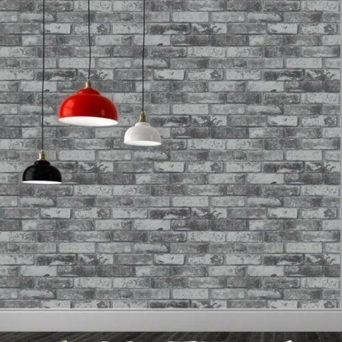 Debona Realistic Brick Stone Wall Black Grey Cream Mural Faux Effect Wallpaper