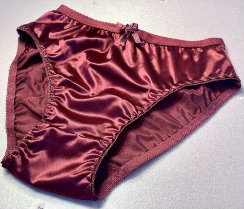 Burgundy Shiny Satin Soft  W//decorat Women Panties Bikinis ANN DIANE Size XL