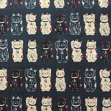 Lucky Cat Navy Japanese Cotton Fabric 110cm Width Per 50cm Half Metre TG70