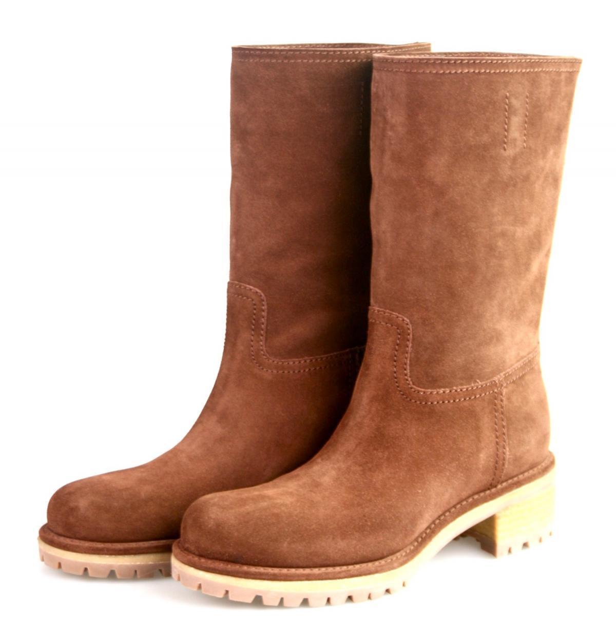Autorización de lujo Prada media 4U5901 Zapatos bota de gamuza gamuza gamuza marrón nuevo 41 41,5 Reino Unido 8  ventas en linea