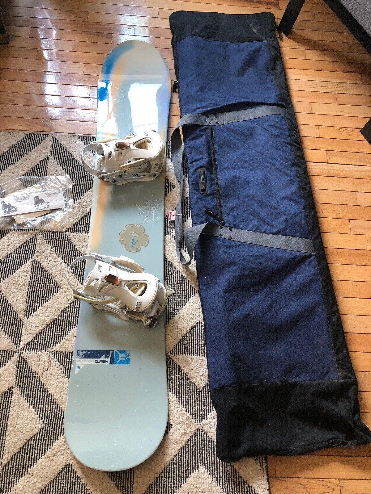 Burton Clash 53 Woherren Snowboard,153cm,Weiß Blau With DVA Ride Bindings Tasche