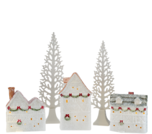 5-piece Illuminated Glittered Ceramic Village by Valerie H206646