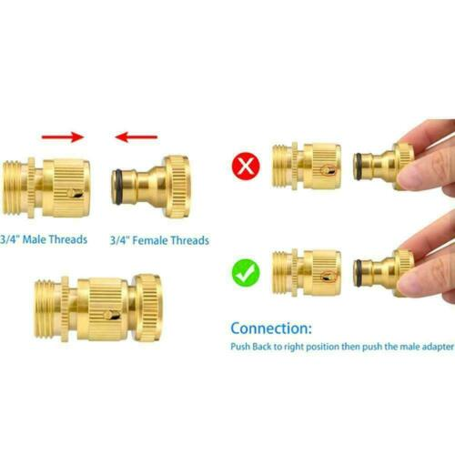 """3//4/"""" Garden Water Hose Quick Connector Fit Brass Male Female Connect Fitting New"""