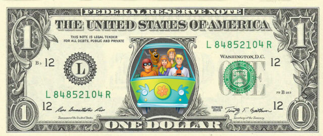Scooby Doo (Mystery Machine) {Color} Dollar Bill- REAL, Money!
