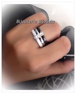 Magnifique-Bague-Ceramique-Noir-amp-Blanc-T52-Zirconium-Argent-925-Bijoux-Femme