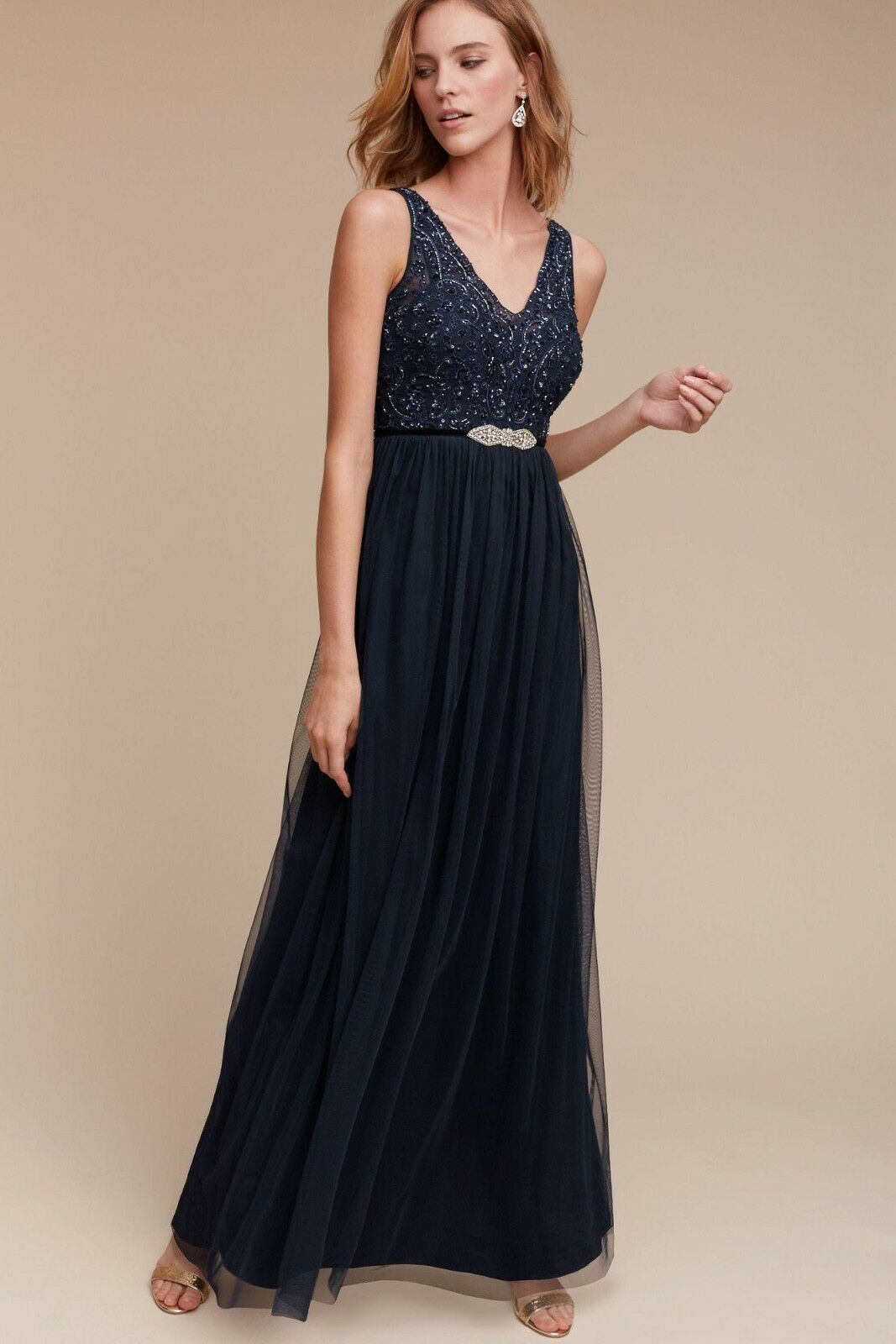 04545ef634e NWT Anthropologie BHLDN Exclusive Orlene Beaded Tulle Gown Dress Sz ...