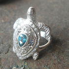 925 Sterling Silver-LH33-Balinese Handcrafted Ring TURTLE *Blue Topaz* Size 7