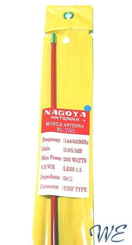 New Nagoya NL-750R//NL-750 Red 144//430Mhz 77cm Fiberglass Antenna Mobile//Station