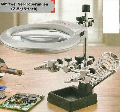 Lupe 2,5 und 5-fach mit LED , 3. Hand, Löthilfe, Lötkolbenhalter, 2 Klemmen