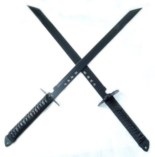 (2 swords) Ninja Sword 28-Inch Black, stainless steel blades Full-tang sharp new
