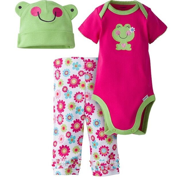 8aaf4b6b6680 Gerber Girl 3-pc Pink Frog Set Onesie Pants   Cap Size 3 6m Baby ...