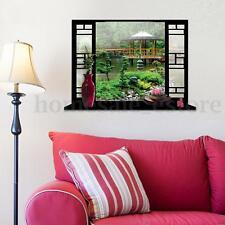 3D View Wall Stickers Chinese Garden Window view Vinyl Decals Home Art Decor DIY