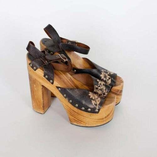 Vintage 70s Platforms Shoes Sandals Shoe High Heel