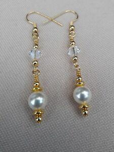 Swarovski-Pearl-earrings-Swarovski-drop-dangle-earrings-Gold-plated-hooks
