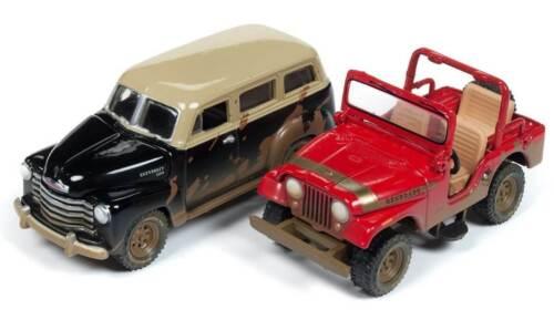 Off Road SET Jeep Renegade 1950 Chevrolet Suburban *RR*Johnny Lightning 1:64