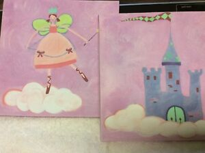 Canvas-Paintings-Artwork-for-Girl-s-Room-Pink-9-034-x-9-set-of-2