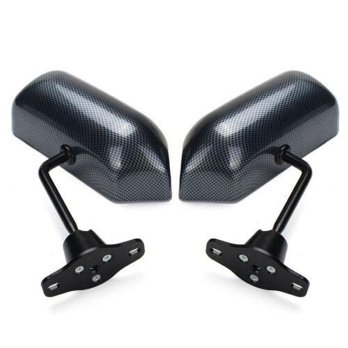 2PCS Universal Car Carbon Fiber Look F1 Style Side Rear View Wing Mirrors Blue