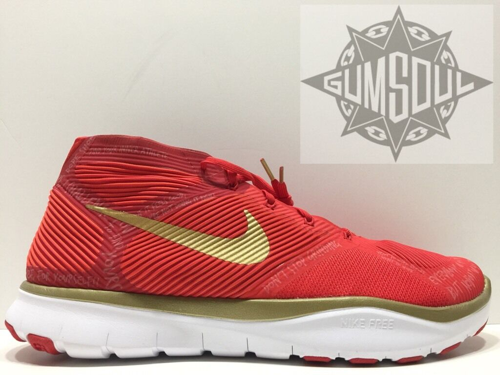 NIKE FREE TRAIN INSTINCT HUSTLE HART KEVIN RED gold REFLECTIVE 848416 876 sz 14