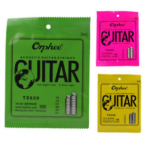 Orphee-6-pz-set-Corda-per-chitarra-acustica-Nucleo-esagonale-8-di-nich-V6T9