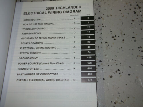 2009 Toyota HIGHLANDER Electrical Wiring Diagram Manual EWD Factory OEM 09