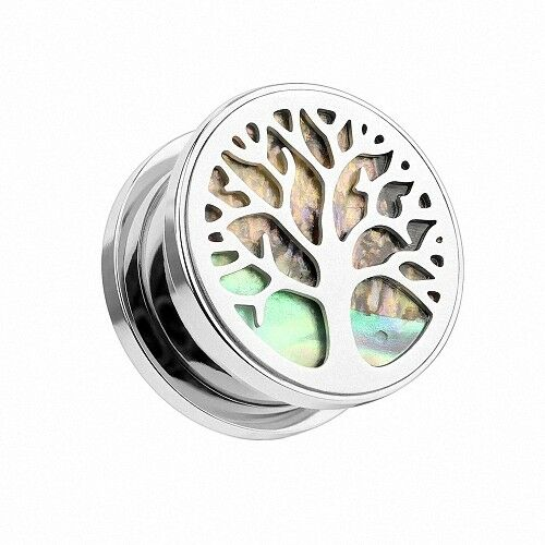 Flesh Ohr Tunnel Piercing Lebensbaum Perlmutt Inlay Tree of Life Vintage