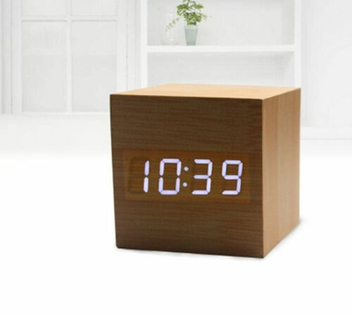 LED Modern Cube Wooden Wood Digital Desk Voice Control Alarm Clock Thermometer C