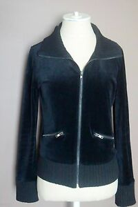 new luxury meticulous dyeing processes Details about DKNY Active Womens Black Velour Jacket Zip Front Medium
