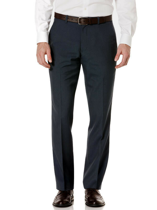 PERRY ELLIS men blueE SLIM-FIT FRONT FLAT DRESS PANTS TROUSERS 33 W 30 L
