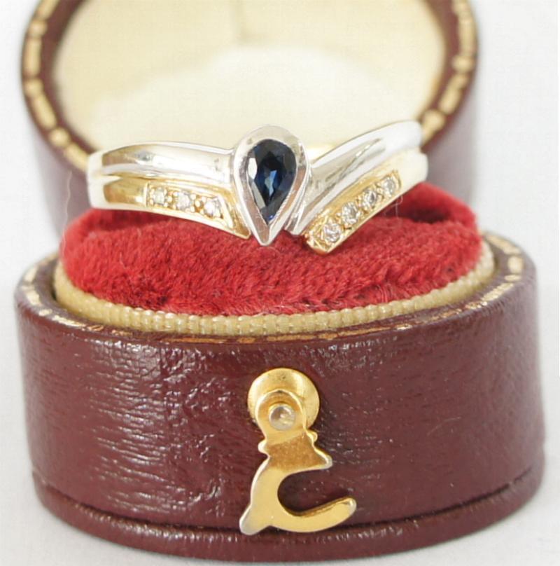 Bellissimo anello in 585 000 giallo oro bianco bianco bianco con brillanti e Safir a1998 9e5efc