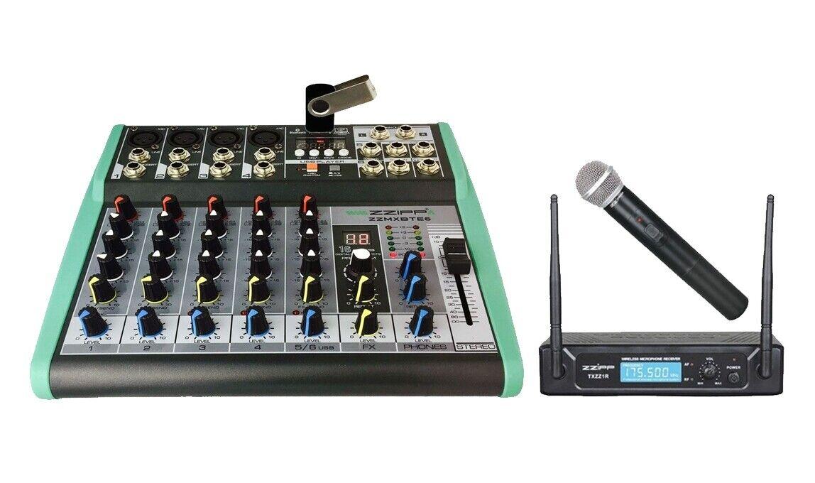 ZZIPP KIT Mixer DJ e Karaoke 6Ch, MP3, DSP e Blautooth   Radiomicrofono Gelato