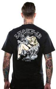 Lucky-13-Jenn-Biker-Pinup-Girl-Tattoo-Motorcycle-Adult-Mens-Tee-Shirt-LM1000JN