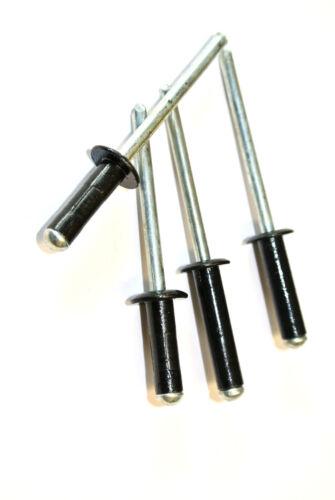 3.2mm x 10mm Blind Pop Rivets Black Dome Open Aluminium Body Steel Stem 50 PACK