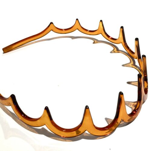 Plastic /& Wire Alice Hairband Sports Ladies Mens Toothed Zig Zag Brown Black