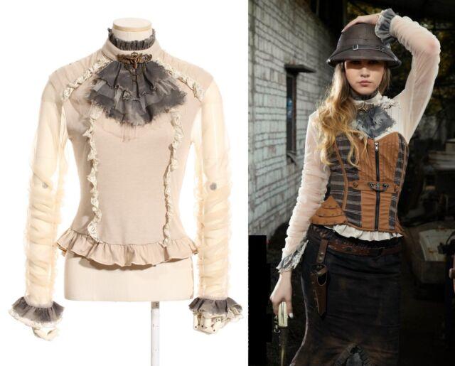 RQ-BL Steampunk Aviator Bluse Gothic Lolita Shirt Victorian Weiß Spitze SP135