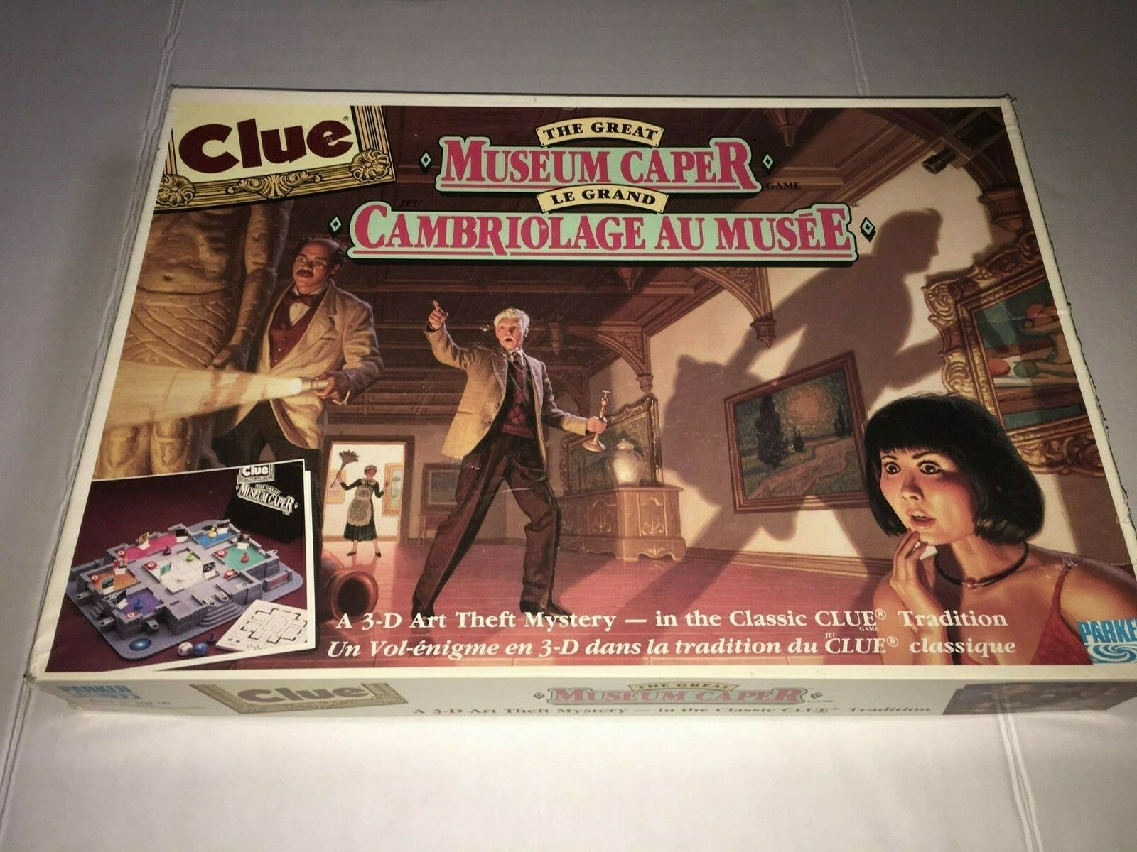 Vintage 1991 CLUE THE GREAT MUSEUM CAPER 3D Boardgame 100% COMPLETE EXCELLENT