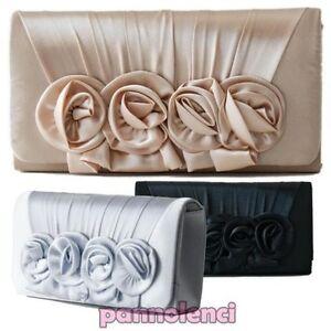 Women-039-s-Handbag-Clutch-Bag-Handbag-Sachet-Shoulder-Strap-Satin-Roses-New-Mh12