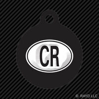 Costa Rica Oval Keychain Round With Tab Engraved Many Colors Country Code Euro