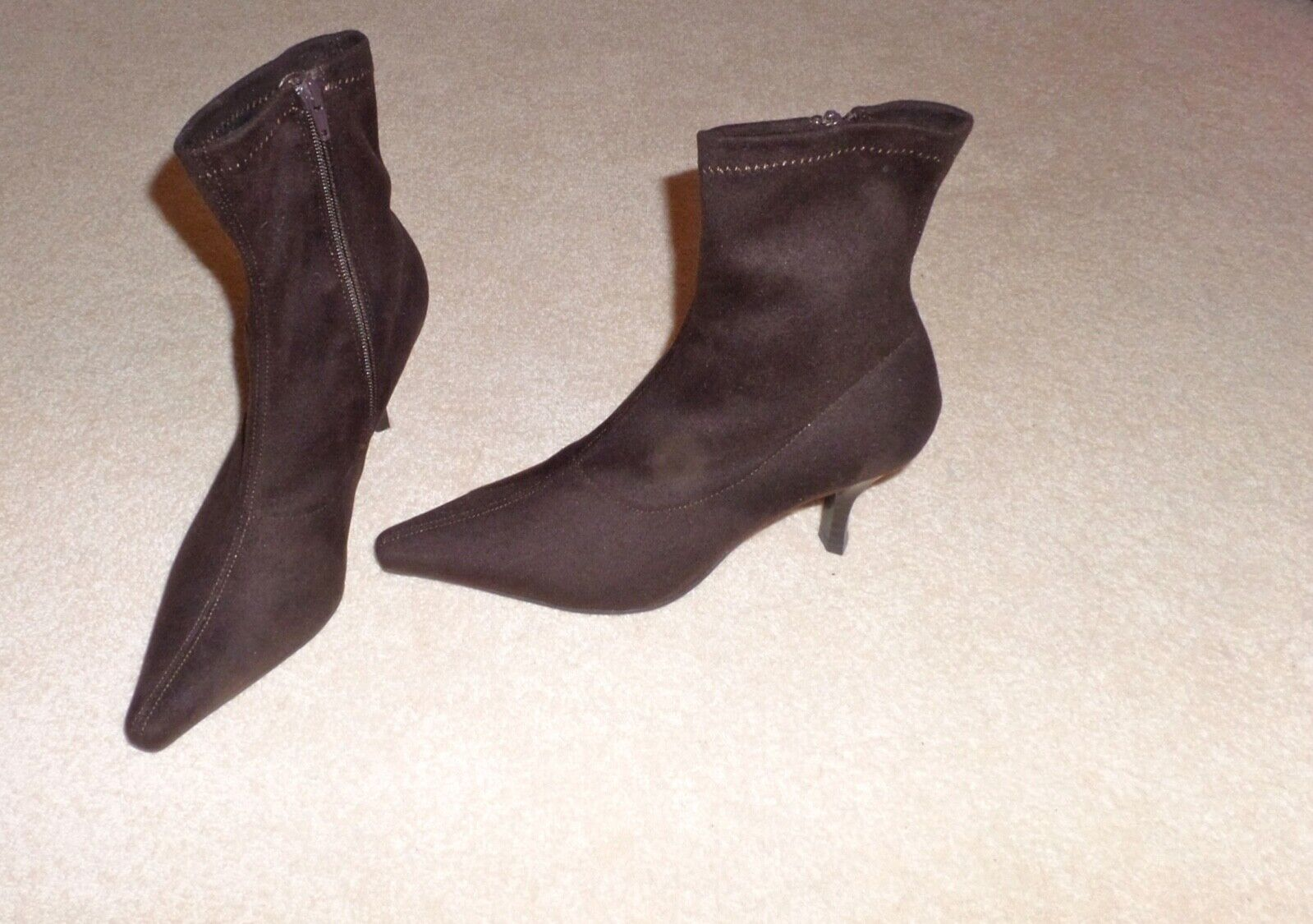 Stylish Signature brown suede effect ladies pointed ankle boots size  5 unworn