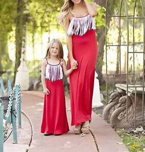 Baby Kids Girl Women Summer Tassels Dress Sleeveless Family Long Maxi Dresses