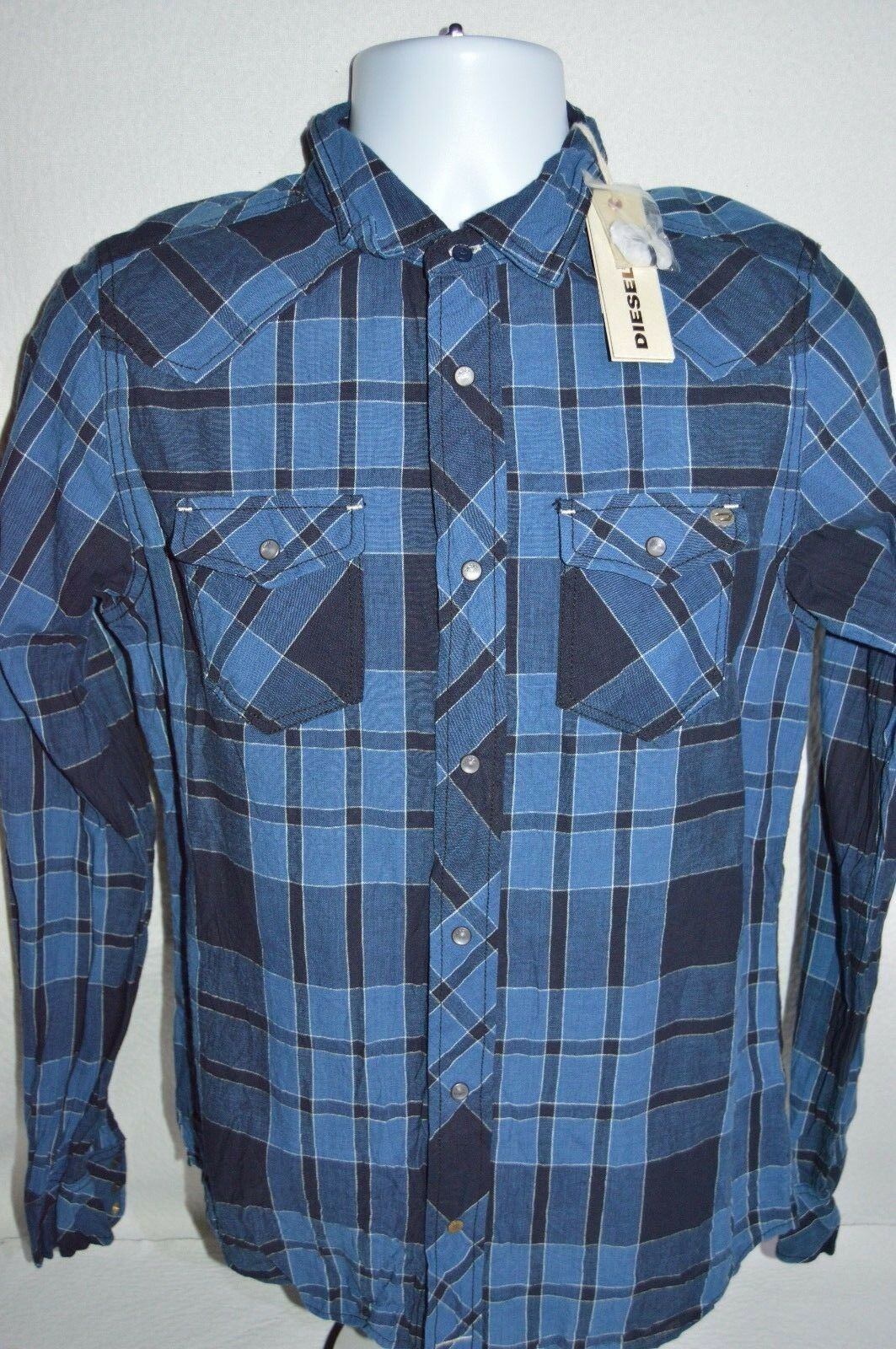 DIESEL Man's SONORA Utility Plaid Shirt  NEW  Size Small   Retail