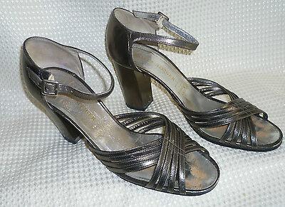 WALTER STEIGER Vintage Sandalen Schuhe Sommerschuhe Leder altgold metallic 7,5