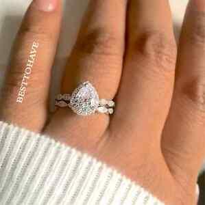 925 silver 2 wedding engagement teardrop pear