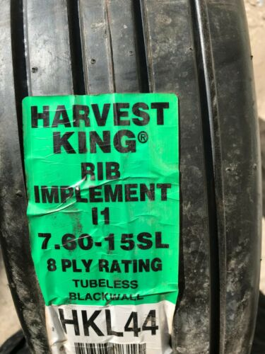 New Tire 7.60 15 Harvest King Farm I-1 Rib Implement Tubeless 8 Ply 7.60x15